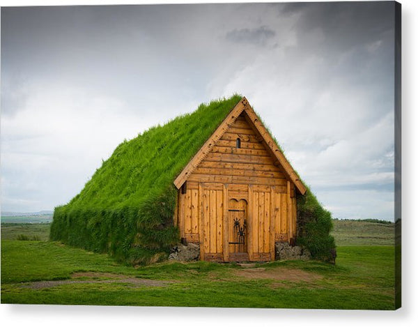 Skalholt Iceland Grass Roof - Acrylic Print