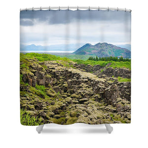 South Iceland Landscape Pingvellir - Shower Curtain