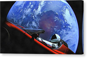 Starman In Tesla With Planet Earth - Canvas Print