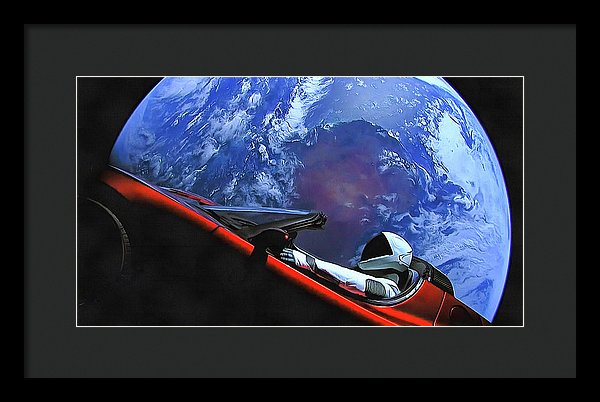 Starman In Tesla With Planet Earth - Framed Print