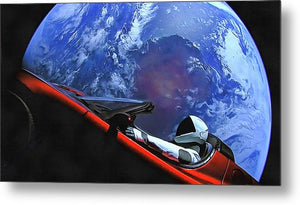 Starman In Tesla With Planet Earth - Metal Print