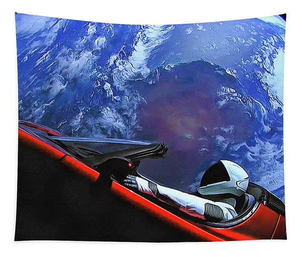 Starman In Tesla With Planet Earth - Tapestry