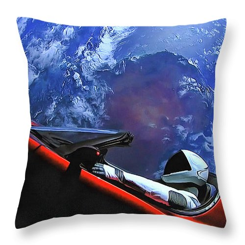 Starman In Tesla With Planet Earth - Throw Pillow