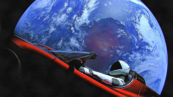 Starman In Tesla With Planet Earth - Art Print