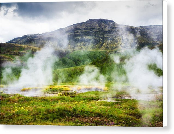 Steaming Geysers And Hot Springs In Iceland - Canvas Print