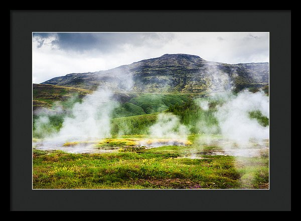 Steaming Geysers And Hot Springs In Iceland - Framed Print