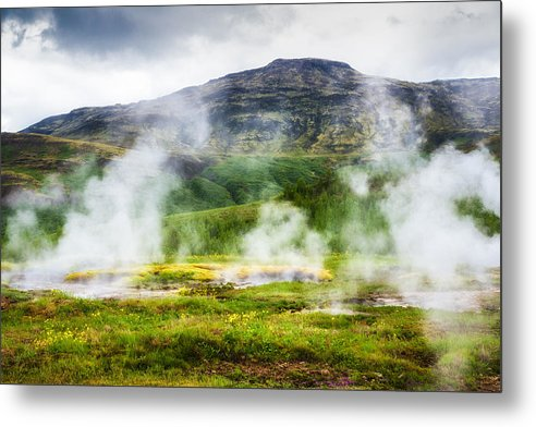 Steaming Geysers And Hot Springs In Iceland - Metal Print