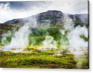 Steaming Geysers And Hot Springs In Iceland - Acrylic Print