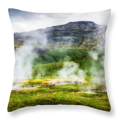 Steaming Geysers And Hot Springs In Iceland - Throw Pillow