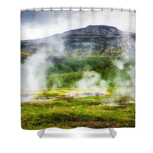 Steaming Geysers And Hot Springs In Iceland - Shower Curtain