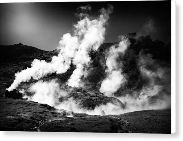 Steaming Iceland Black And White Landscape - Canvas Print