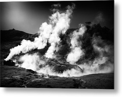 Steaming Iceland Black And White Landscape - Metal Print