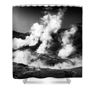 Steaming Iceland Black And White Landscape - Shower Curtain