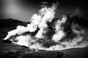 Steaming Iceland Black And White Landscape - Art Print