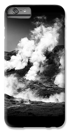 Steaming Iceland Black And White Landscape - Phone Case