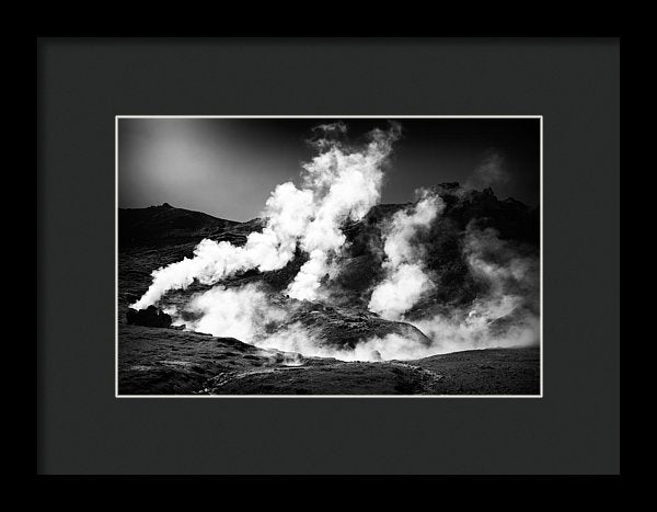 Steaming Iceland Black And White Landscape - Framed Print