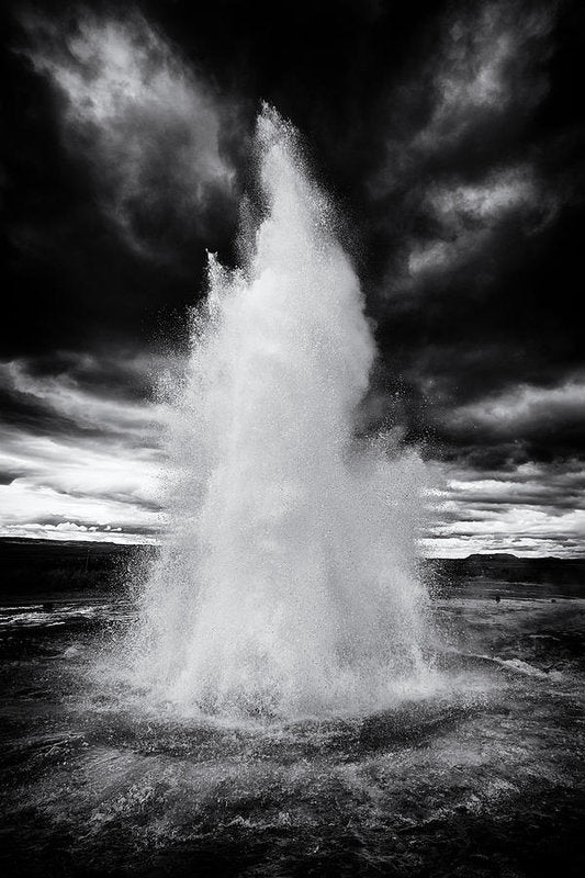 Strokkur Geyser Iceland Black And White - Art Print