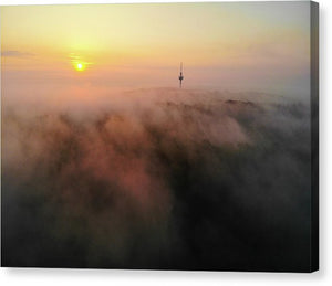 Sunrise And Morning Fog Warm Orange Light - Canvas Print
