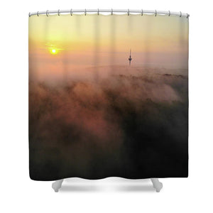 Sunrise And Morning Fog Warm Orange Light - Shower Curtain