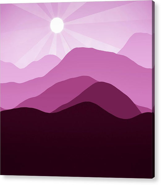 Sunrise and Mountain Landscape Abstract Minimalism Violet Rouge - Acrylic Print
