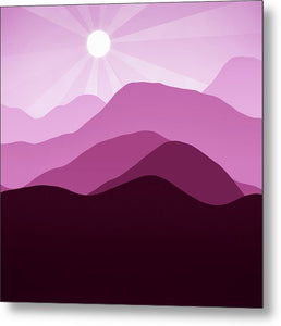 Sunrise and Mountain Landscape Abstract Minimalism Violet Rouge - Metal Print