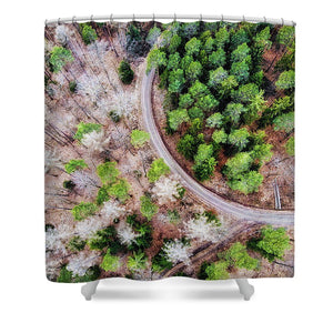 Trees And Path From Above Drone Photography - Shower Curtain
