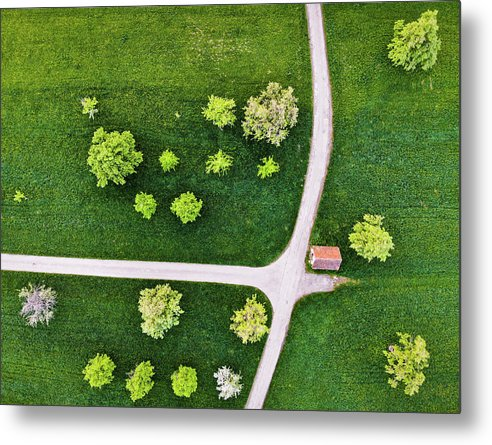 Trees And Roads From Above Drone Photography - Metal Print