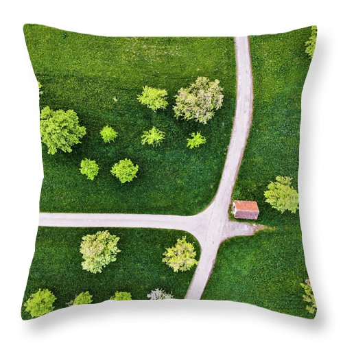 Trees And Roads From Above Drone Photography - Throw Pillow