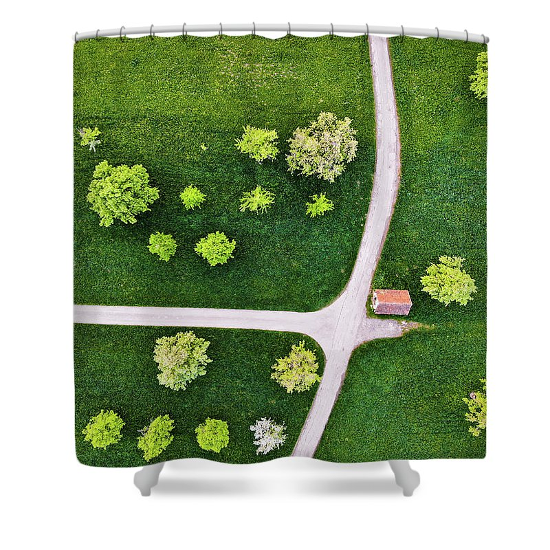 Trees And Roads From Above Drone Photography - Shower Curtain