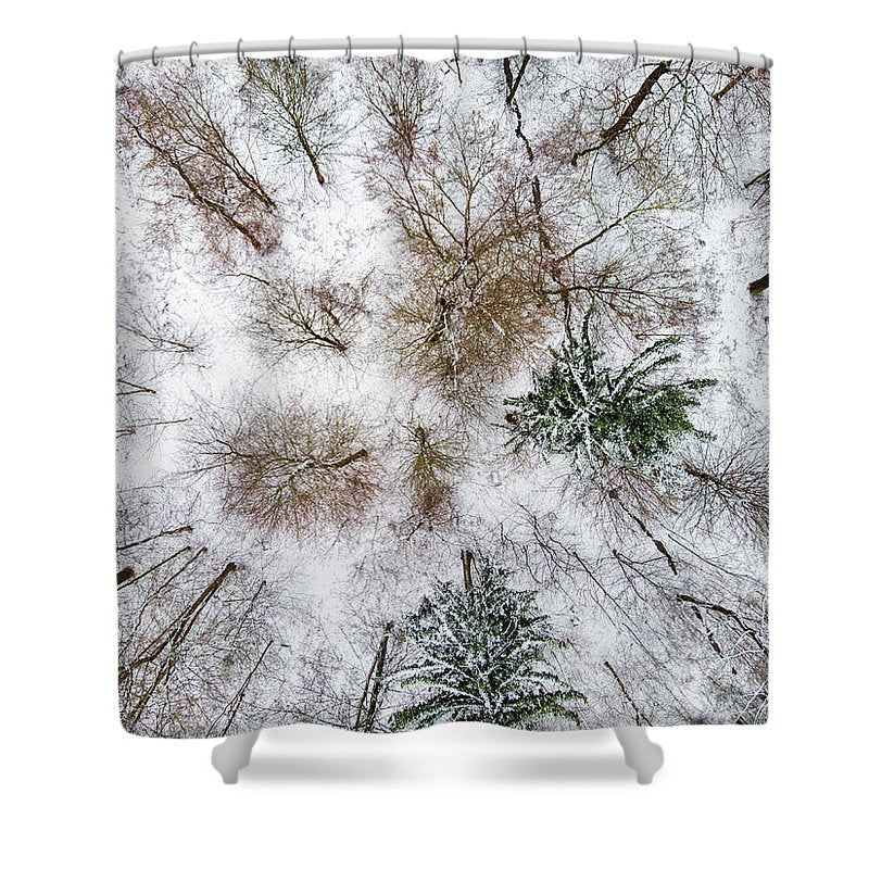 Trees In Winter From Above - Drone Photography - Shower Curtain