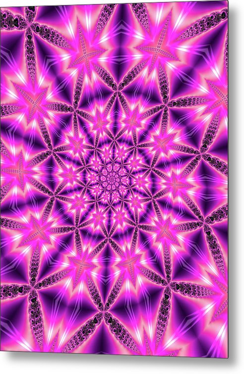 Trippy Pink And Purple Kaleidoscope Abstract - Metal Print