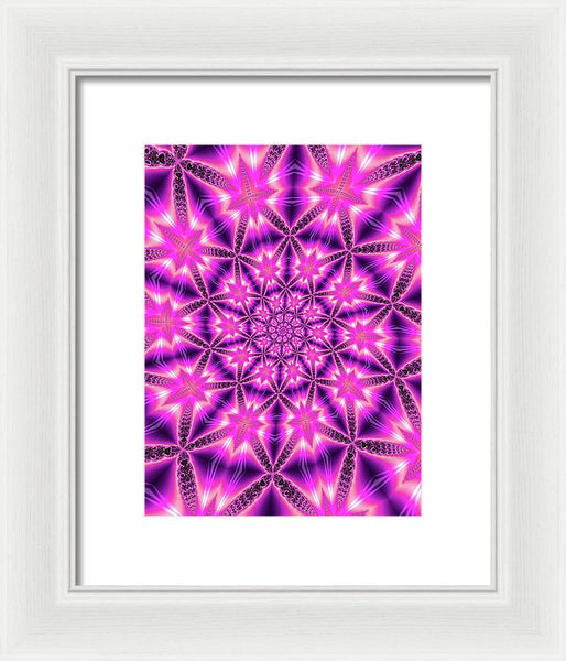 Trippy Pink And Purple Kaleidoscope Abstract - Framed Print