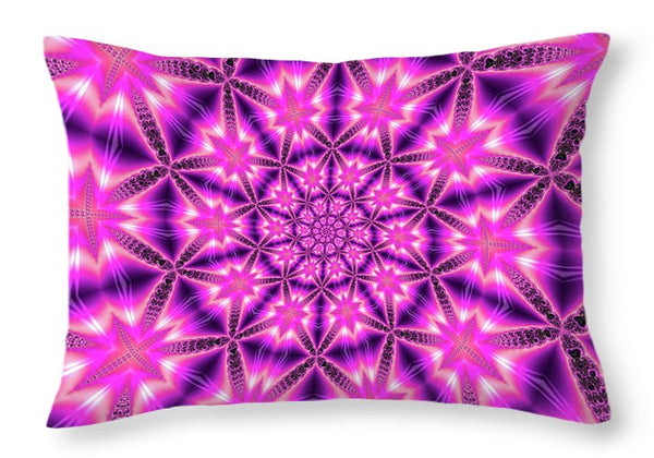 Trippy Pink And Purple Kaleidoscope Abstract - Throw Pillow
