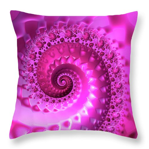 Trippy Pink Fractal Spiral - Throw Pillow