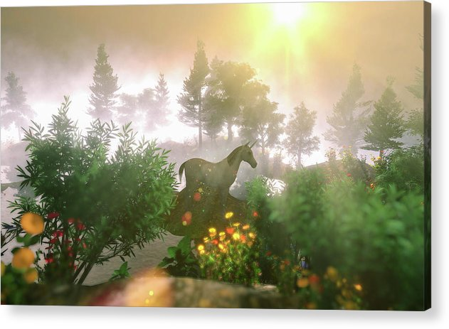 Unicorn In Magical Enchanted Forest - Acrylic Print
