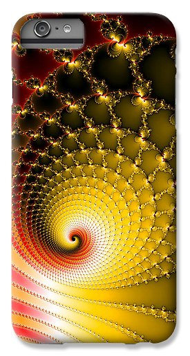 Vibrant Glossy Fractal Spiral Yellow And Red - Phone Case