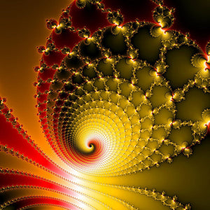 Vibrant Glossy Fractal Spiral Yellow And Red - Art Print