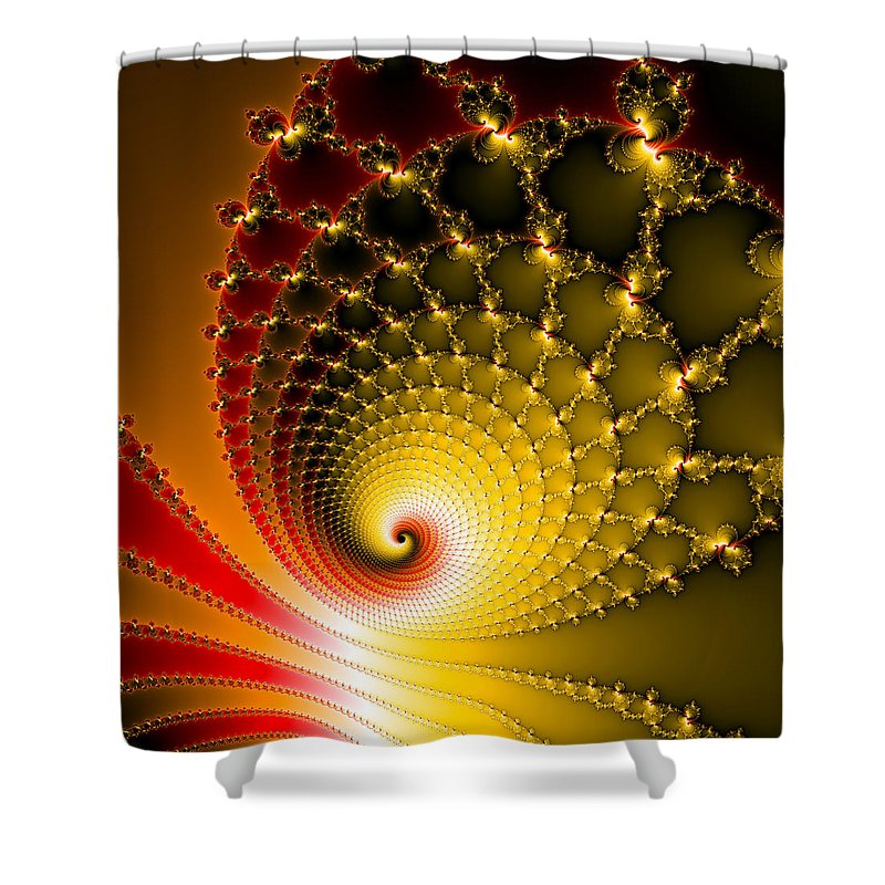 Vibrant Glossy Fractal Spiral Yellow And Red - Shower Curtain