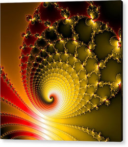 Vibrant Glossy Fractal Spiral Yellow And Red - Acrylic Print