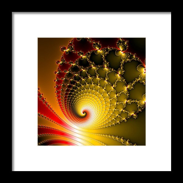 Vibrant Glossy Fractal Spiral Yellow And Red - Framed Print