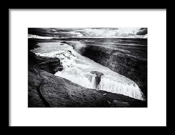 Waterfall Gullfoss Iceland Black And White - Framed Print