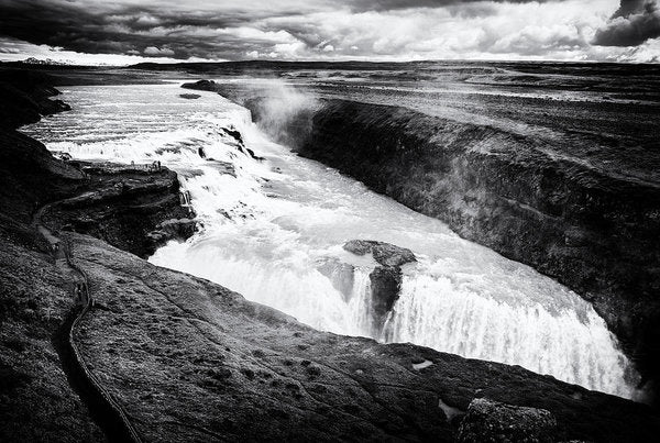 Waterfall Gullfoss Iceland Black And White - Art Print