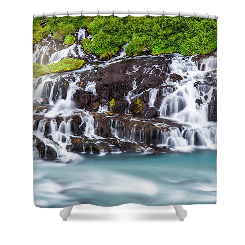 Waterfall Hraunfossar In Iceland - Shower Curtain