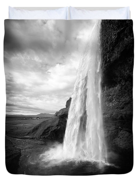 Waterfall In Iceland Black And White - Duvet Cover