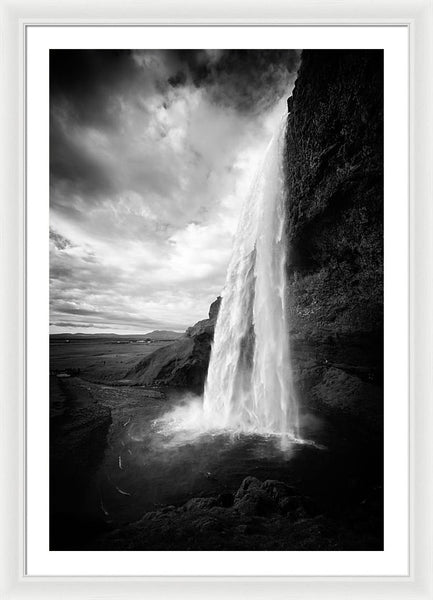 Waterfall In Iceland Black And White - Framed Print