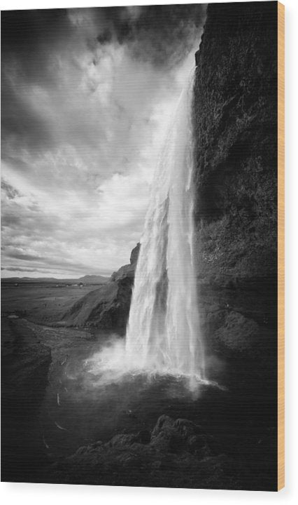 Waterfall In Iceland Black And White - Wood Print