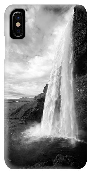 Waterfall In Iceland Black And White - Phone Case