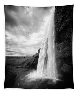 Waterfall In Iceland Black And White - Tapestry
