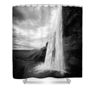 Waterfall In Iceland Black And White - Shower Curtain