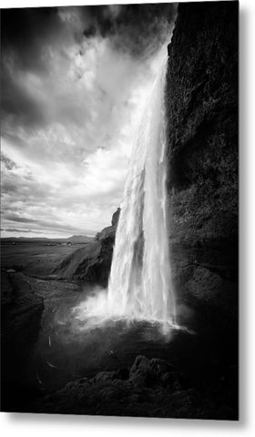 Waterfall In Iceland Black And White - Metal Print